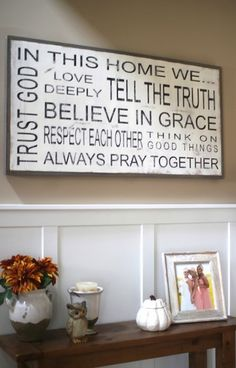 Every family lives by a set of values that make their family unique and special. Adding your familys mission/vision statement to your walls