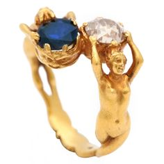 Art Nouveau Sapphire Diamond Gold Figural Ring | 1stdibs.com