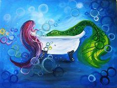 Fall 2017 Lookbook: Paint Nite Mermaid Bubble Bath painting