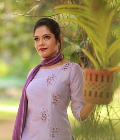 Purple Lavender Chandheri Suit with Pearl work - Products Kurta Designs Women, Kurti Neck Designs, Salwar Designs, Blouse Designs, Hand Embroidery Dress, Kurti Embroidery Design, Work Dresses For Women, Clothes For Women, Ladies Suit Design