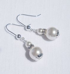 Swarovski white crystal pearl and sterling silver earrings by ParkhillDesigns on Etsy