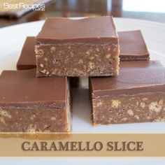 Caramello Slice: Caramello choc 1 packet of plain biscuits – crushed ¼ cup butter ½ tin condensed milk Break choc up and melt with butter in microwave. Stir in condensed milk and crushed biscuits. Press into tray and refrigerate until set. Tea Recipes, Baking Recipes, Sweet Recipes, Cake Recipes, Dessert Recipes, Recipies, Baking Ideas, Yummy Treats, Delicious Desserts