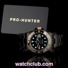 Pro-Hunter GMT-Master II Safari REF: 116713LN | Year 2012 Brand New  The first ever DLC & gold Pro-Hunter! This limited edition of 100 pieces (numbered 001-100) features a coating of near indestructible DLC (Diamond-Like Carbon) in jet-black, which contrasts against the 18ct yellow gold & ceramic bezel of this stunning watch to create one of the most striking combinations so far! Designed with total respect for the integrity of this iconic pilot's dual time-zone watch