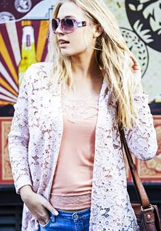 LAST ONE IN STOCK...A Postcard From Brighton Fantasy Lace Lolly Kimono Jacket In Nude