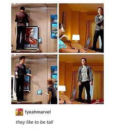 Aw look at that! Both tony and Peter like to be tall