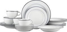 Roulette Blue Band 20-Piece Dinnerware Set  | Crate and Barrel.  I have these dishes as well as the Blue Spiral Pattern from many years ago. Love the simplicity of this Blue and White Dinnerware.