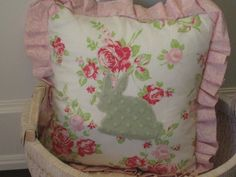 Sale 30% off, Minky Pillow, shabby chic pillow, nursery decor, baby nursery decor, crib bedding.