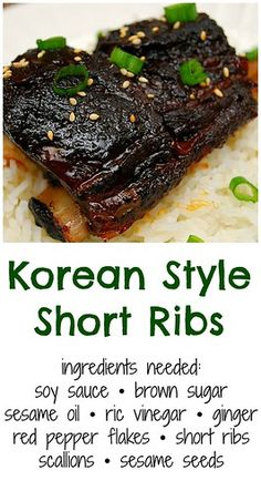 Korean Style Short Ribs (Crockpot) I love cooking dishes of various ethnic cuisines. Doing so adds some fun in our usual meals and it's a great way to appreciate other cultu. Slow Cooker Short Ribs, Pork Short Ribs, Pork Ribs, Asian Short Ribs, Short Ribs In Oven, Smoked Beef Short Ribs, Asian Ribs, Asian Pork, Bbq Pork