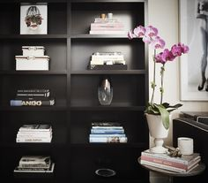 Black bookcase. The styling is great. Chic. Designer: Jordan Carlyle