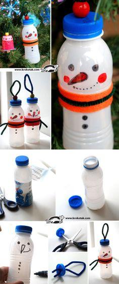 Sneeuwpoppen van melkflesje (bijv. Aldi)