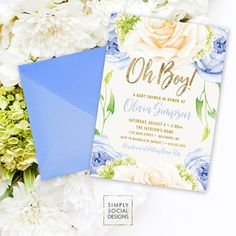 Blue Floral Baby Shower Invitation - Oh Boy It's a Boy Roses Hydrangea Faux Gold Foil Boho Flowers Watercolor Printable Party Invite