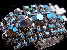 Hi End D & E Juliana Aurora Borealis AB Rhinestone Wide Estate Bracelet Vintage