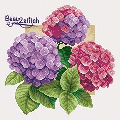Cross Stitching, Cross Stitch Embroidery, Cross Stitch Patterns, Hydrangea, Needlepoint, Needlework, Free Pattern, Projects To Try, Crossstitch