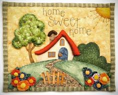 Casita del Patchwork: Casita Home Sweet Home Mini Quilts, Small Quilts, Applique Patterns, Applique Quilts, Quilt Patterns, Crazy Quilting, Crazy Patchwork, House Quilt Block, Quilted Gifts
