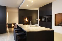 Beautiful Kitchens, Cool Kitchens, Prague Apartment, Best Kitchen Designs, Kitchen Dining, Island Kitchen, Decoration, Kitchen Interior, Living Room