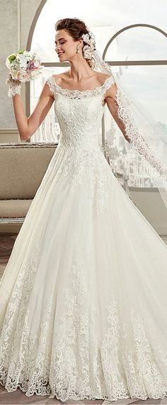 Marvelous Tulle & Satin Off-the-shoulder Neckline A-Line Wedding Dresses With Lace Appliques