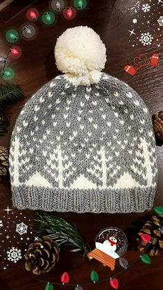 Crochet Hat Ravelry: Snowy Trees Hat pattern by Sofia Moussa - This beautiful warm hat is perfect for winter and has a touch of festiveness. Fair Isle Knitting Patterns, Knitting Designs, Knitting Projects, Crochet Patterns, Loom Knitting, Hand Knitting, Knit Or Crochet, Crochet Hats, Ravelry Crochet