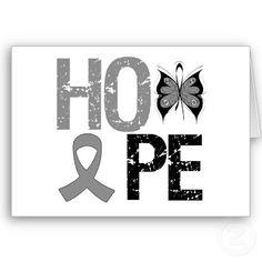 Hope Brain Cancer Awareness Greeting Cards