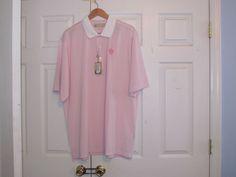 "Donald Ross Men's Golf Shirt, 2XL, ""White,Pink Striped"", 100% Polyester, NWT #DonaldRoss"