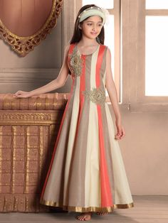 Shop Peach raw silk gown online from G3fashion India. Brand - G3, Product code - G3-GGO0514, Price - 4595, Color - Peach, Fabric - Raw Silk,