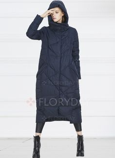Coats - $70.55 - Polyester Long Sleeve Hooded Pockets Coats (1715231119)
