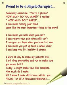 Proud to be a physiotherapist