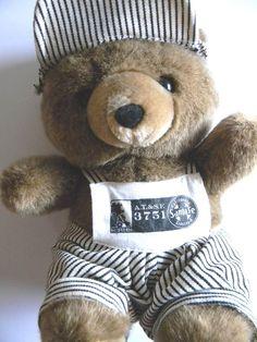 "11"" ASI Greek  Santa Fe California Bear Stuffed Animal Plush Toy w/ Overall Cap  #ASI"