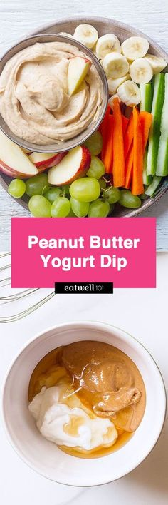 Peanut Butter Yogurt Dip - A yummy, healthy treat that is packed with a ton of protein.