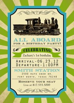 Printable train birthday by SongbirdGreetings on Etsy, $20.00