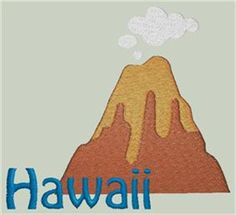 Sivan Free Embroidery Design: Hawaiian Volcano 3.39 inches H x 3.73 inches W