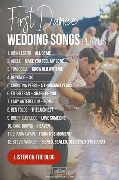 See hottest list of the 100 top wedding songs 2019 and choose your wedding music. See hottest list of the 100 top wedding songs 2019 and choose your wedding music to get the party started Here is wedding playlist 2019 for your party 2020 Most Popular Wedding Songs, Top Wedding Songs, First Dance Wedding Songs, Wedding Song List, Wedding Music, Wedding Tips, Dream Wedding, Church Wedding, Songs For Wedding Ceremony