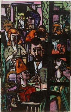 Hotel Lobby by Max Beckmann. I saw this at Denver Art Museum and I liked it.
