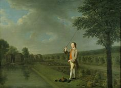 Francis Popham angling in a garden pond, by Arthur Devis (1711-1787). ©National Trust Images/Angelo Hornak  Not precisely the Regency era, but men continued to fish in ponds on their country estates throughout the19th c.