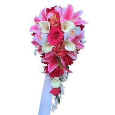 """Cascade bouquet-Shades of Pinks(hot pink,baby pink)ivory,white. rose,peony,calla lily bouquetDimension: 10"""" x 21"""" Large arrangement bouquetMade of roses, peony,"""