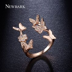 NEWBARK Lovely Ladies Butterfly Ring Rose Gold Plated Open Rings For Women With Top Quality Cubic Zirconia Stone Jewelry Gifts