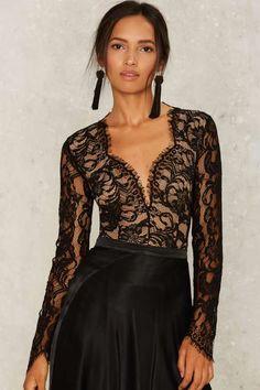 Duchess Lace Bodysuit - Black - Tops