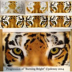 Progression of new glass powder tiger painting. 6 firings total. ©pdenny