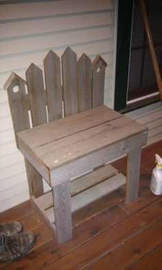 small bench made out of reclaimed barn wood. I would want a full sized bench, but very good idea for my honey to build!! :)