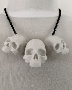 Curiology | 3D Printed Human Skull Trio Necklace  - Tragic Beautiful buy online from Australia