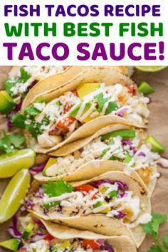 fish tacos with cabbage slaw tilapia * fish tacos - fish tacos with cabbage slaw - fish tacos tilapia - fish tacos recipe - fish tacos sauce - fish tacos with cabbage slaw easy - fish tacos with cabbage slaw tilapia - fish tacos with mango salsa Taco Sauce Recipes, Best Fish Taco Recipe, Healthy Taco Recipes, Fish Taco Sauce, Seafood Recipes, Cooking Recipes, Taco Del Mar White Sauce Recipe, Street Taco Sauce Recipe, Recipes Using Fish Sauce
