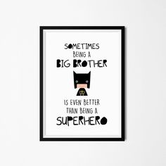 Poster print wall art. Superhero illustration art for big brothers. Nursery and kids wall art for instant download. Available in 3 sizes. by PenguinGraphics on Etsy