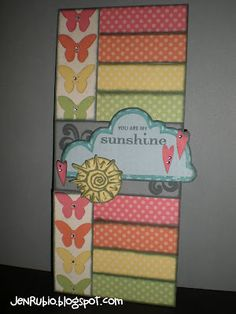 8 x 3 card butterflies & strips of dots, you are my sunshine