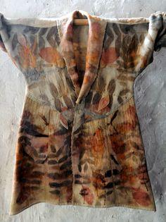 Upcycled NZ woolen blanket coat eco dyed with by IndigoBushStudios
