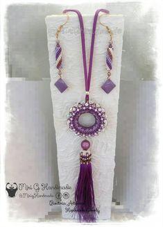 Pendant and earrings handmade / Colgante y pendientes Golden Sun reversible 2in1