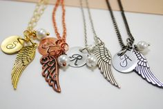 Personalized Initial Necklace Angel Wing Hand by ornatetreasures, $25.50