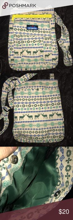 Kavu Keeper Cross Body Bag (Deer-Ski Pattern) Kavu crossbody keeper bag in deer-ski pattern. Good condition Kavu Bags Crossbody Bags