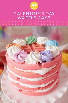 There is no better way to celebrate Galentine's Day than with a stack of pink waffles and whipped cream! Explore more waffle cakes and treats at Wilton. Valentine Desserts, Valentine Cake, Easy Desserts, Dessert Recipes, Valentines, Dog Cakes, Cupcake Cakes, Baby Cakes, Mini Cakes