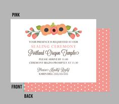 Lds Sealing Invitation In Chocolate And Fuschia Timeline