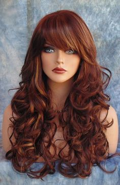 LONG CURLY SKIN TOP HEAT FRIENDLY WIG BLACK/BURGANDY F33.27 *GORGEOUS SEXY 146  #FullWig