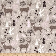 Hello, My Deer Woodland Zinc from @fabricdotcom  From Camelot Fabrics, this cotton print collection features woodsy elements in modern prints and colorways that are perfect for quilting, apparel, and home decor accents. Colors include taupe, grey, brown, white, and pink.